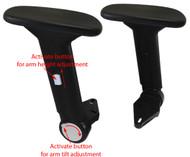 Height Adjustable Fold-Away Chair Armrest w/ Arm Pads - Pair
