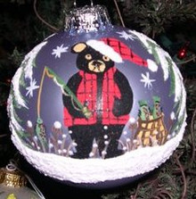 Hand Painted Ornament_Bear Fishing