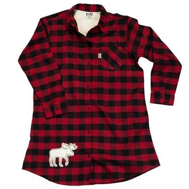 Buffalo check flannel nightshirt with moose adirondack for Buffalo check flannel shirt jacket