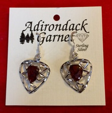 Garnet Heart Pendant Earrings
