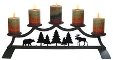 Moose and Bear Fireplace Pillar Holder