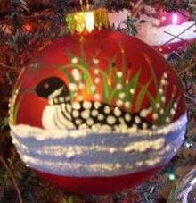 Hand Painted Ornament_ Loon, Red
