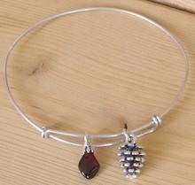 Garnet and Pine Cone Bracelet