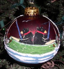 Hand Painted Ornament_Two Bears Fishing in Canoe, Red
