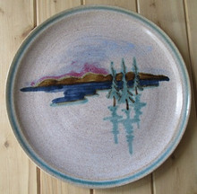 Large Round Pottery Plate-Trees