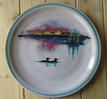Large Round Pottery Plate-Loons