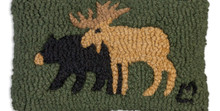 Bear and Moose hooked wool pillow