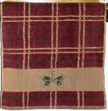 Plaid Pine Cone Hand Towel