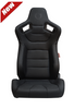 Cipher Auto - Racing Seats Black Leatherette Carbon Fiber w/ black stitching - Pair