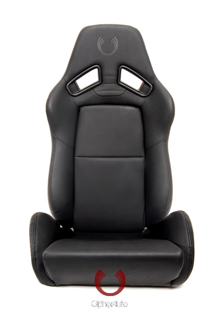 Cipher AR-8 Revo Racing Seats All Black Leatherette w/ black outer stitching -Pair