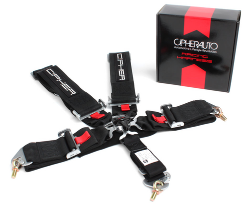Cipher Black 5 Point 3 Inches Camlock Racing Harness - SFI 16.1