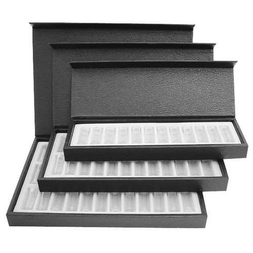 "24 piece assortment of 9.5x4.5"" empty bottles in leatherette tray"