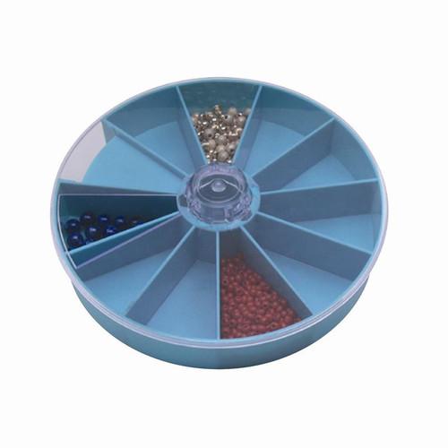"10 compartment 6"" diameter x 1"" height plastic revolving tray"