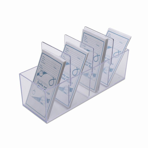 Wide plastic box holds repair envelopes