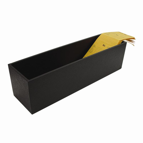 Large faux leather-covered box for holding and organizing repair envelopes