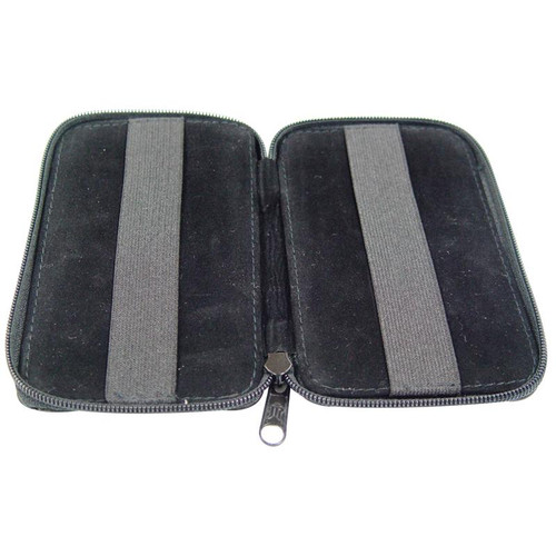 Portable black zippered wallet-style case holds your gemstones