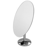 Large oval frameless mirror tilts back for adequate viewing