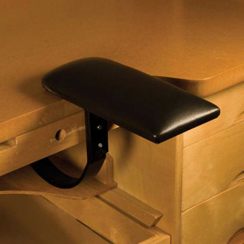 Ergonomic arm rest accessory for a jeweler's bench