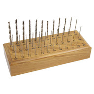 High Speed Twist Drills Set of 36 Sizes 33 to 80 with Wood Holder