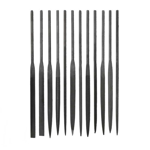 12-piece set of medium needle files for jewelry or watches