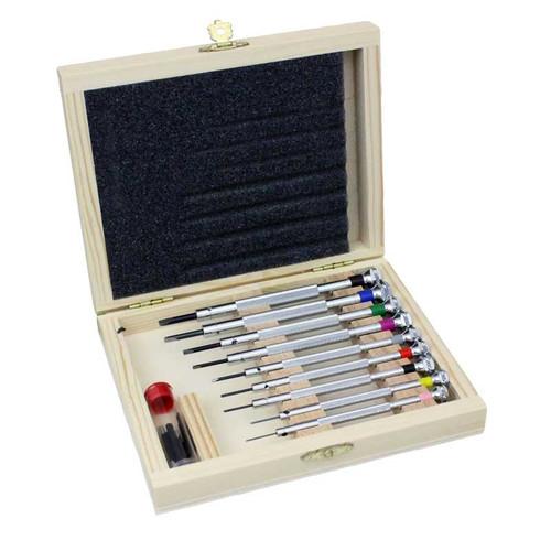 watch tools screwdriver set in wooden box watch screwdrivers esslinger co. Black Bedroom Furniture Sets. Home Design Ideas