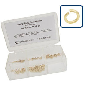 Jump Ring Assortment - 144 Piece Round Yellow Gold Filled