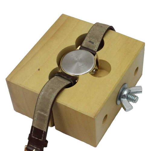 Wooden wrist watch case vise holder