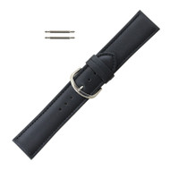 Leather Watch Band 24 MM Black Leather Classic Grain  Extra Wide Band