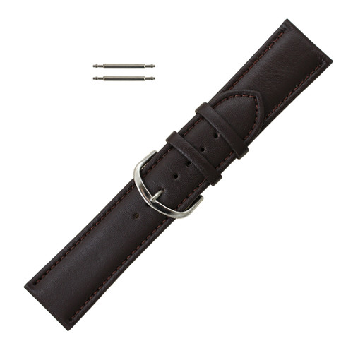 Leather Watch Band 24 MM Brown Leather Classic Grain Extra Wide Band