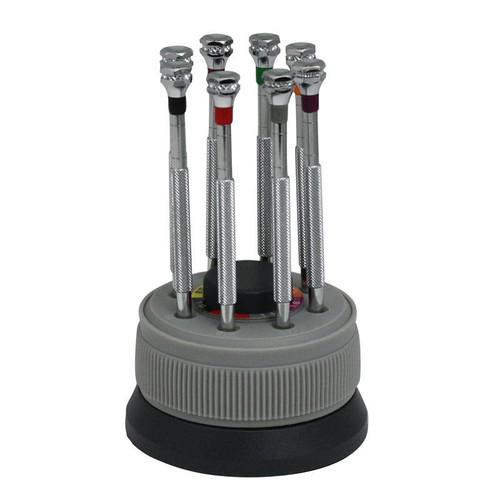 economy 8 piece mini screwdriver set on rotating stand. Black Bedroom Furniture Sets. Home Design Ideas