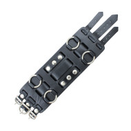 Leather Watch Band 15 MM Black Leather Retro Chunky Monkey Style