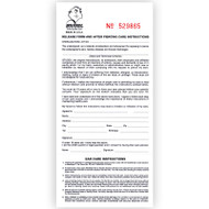 Forms detailing ear care instructions following a piercing procedure