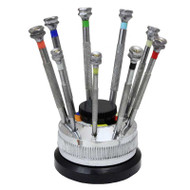 Nine-piece screwdriver set with rotating base