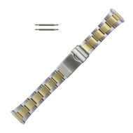 Metal Watch Band Two Tone Sport Style, Expandable Ends 16-21MM
