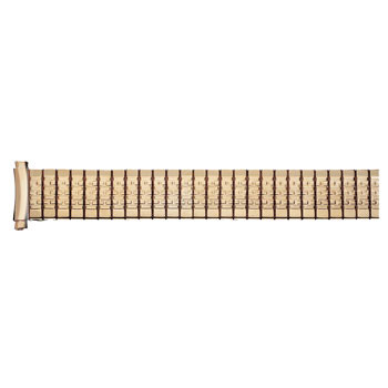 Men's 20mm yellow gold tone curved end watch band expansion
