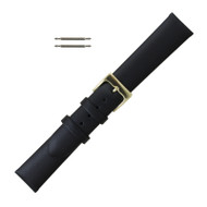 Black Leather Watch Band Luxury Calf 16MM