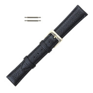 16MM Leather Watch Band Black Polished Calf