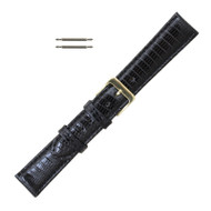 Black Leather Watchband 14MM Genuine Lizard