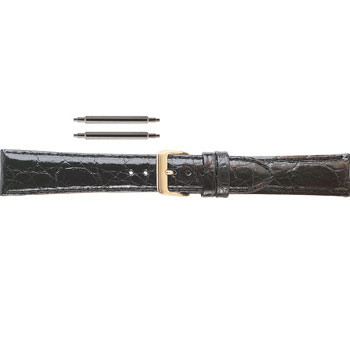 19MM black crocodile leather watch band