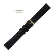 14MM Watch Band Black Leather Lizard Grain