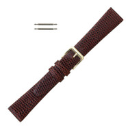 Brown Leather Watch Band 19MM Lizard Grain