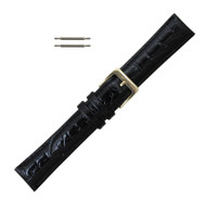 Black Leather Watch Band 20MM Crocodile Grain Long