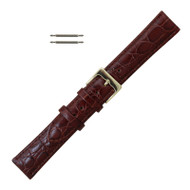 Brown Leather Watch Band Crocodile Grain 18MM Extra Long