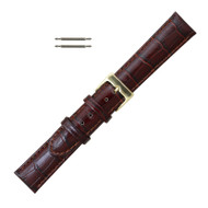 Brown Leather Watch Band 18MM Alligator Grain Style