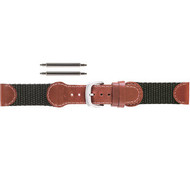 19mm red-brown leather-accented Swiss Army watch band