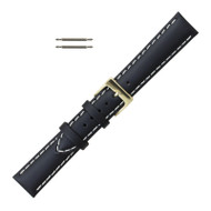 Saddle Stitched Watch Band Black Leather 20MM