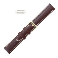 Leather Watch Band 18MM Brown Saddle Stitched Style