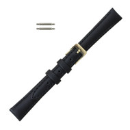 Long Black Leather Watch Band 14MM Classic Calf