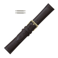 19MM Brown Long Watch Band Classic Calf Leather