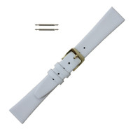 Smooth Leather Watch Band 14MM White Leather Smooth Calf